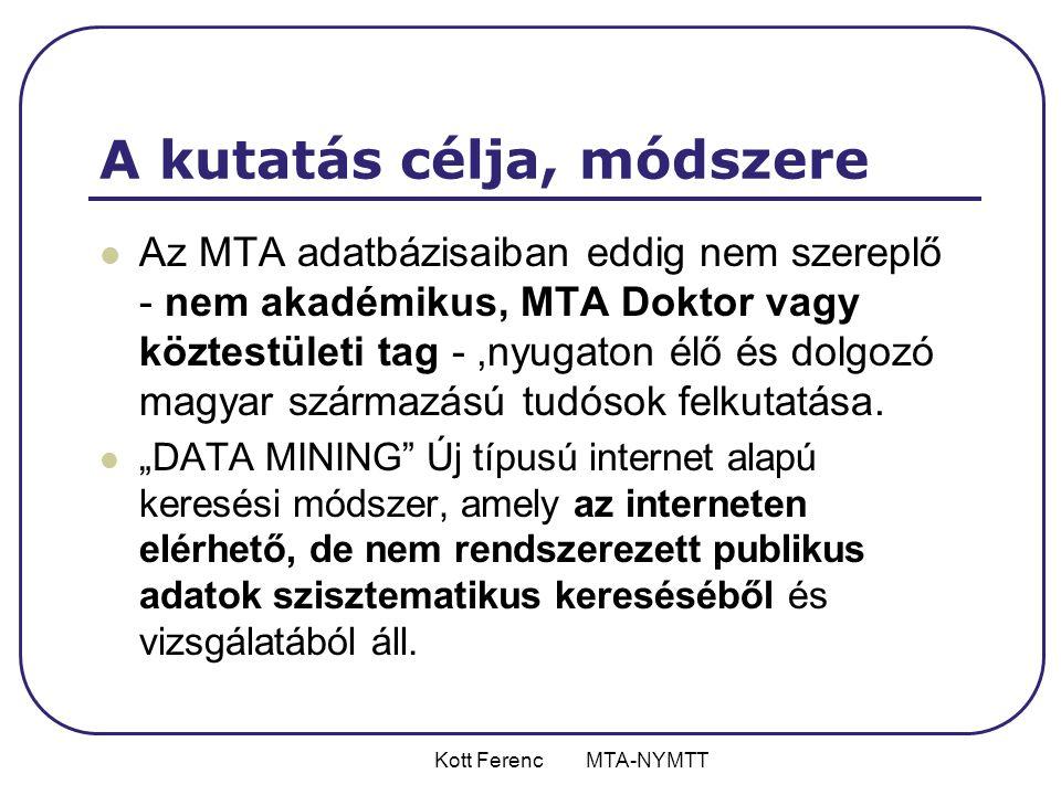 Kott Ferenc MTA-NYMTT A kutatás eredményei  2006 január • 110 tudományos fokozattal rendelkező kutató • 45 PhD programban részt vevő doktorandusz  2006 június • 62 tudományos fokozattal rendelkező kutató • 23 PhD programban részt vevő doktorandusz  2007 július • 50 tudományos fokozattal rendelkező kutató • 21 PhD programban részt vevő doktorandusz