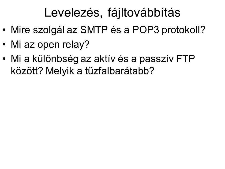 Levelezés, fájltovábbítás •Mire szolgál az SMTP és a POP3 protokoll.