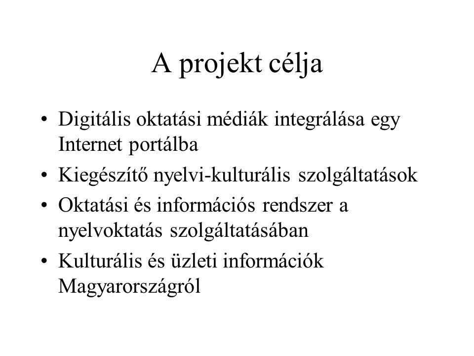 A projekt célja •Digitális oktatási médiák integrálása egy Internet portálba •Kiegészítő nyelvi-kulturális szolgáltatások •Oktatási és információs rendszer a nyelvoktatás szolgáltatásában •Kulturális és üzleti információk Magyarországról