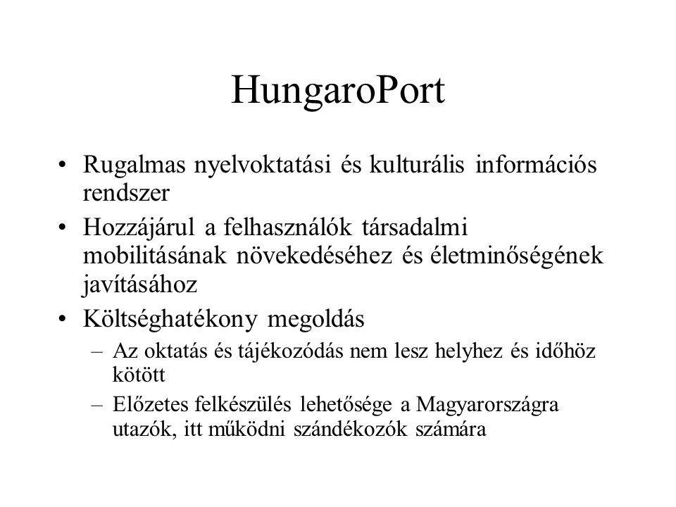 HungaroPort •Rugalmas nyelvoktatási és kulturális információs rendszer •Hozzájárul a felhasználók társadalmi mobilitásának növekedéséhez és életminőségének javításához •Költséghatékony megoldás –Az oktatás és tájékozódás nem lesz helyhez és időhöz kötött –Előzetes felkészülés lehetősége a Magyarországra utazók, itt működni szándékozók számára