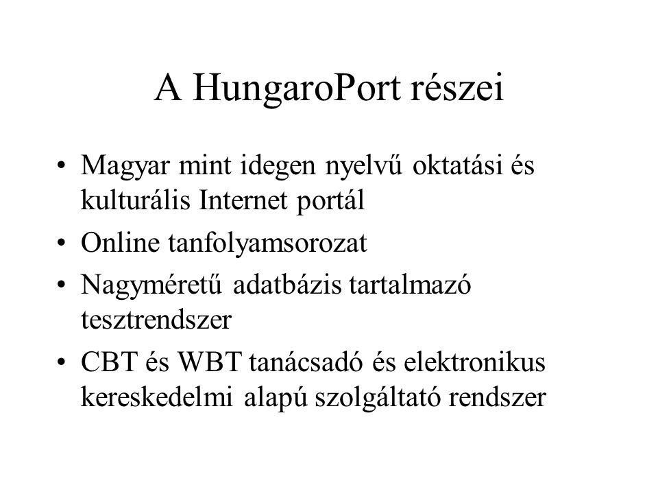 A HungaroPort részei •Magyar mint idegen nyelvű oktatási és kulturális Internet portál •Online tanfolyamsorozat •Nagyméretű adatbázis tartalmazó tesztrendszer •CBT és WBT tanácsadó és elektronikus kereskedelmi alapú szolgáltató rendszer