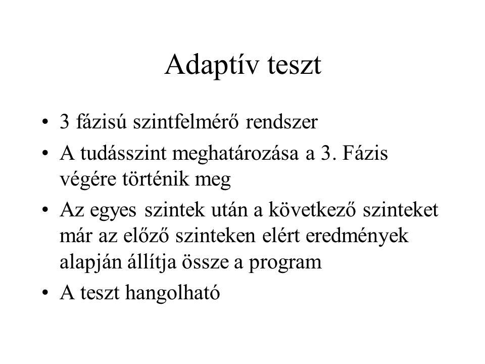 Adaptív teszt •3 fázisú szintfelmérő rendszer •A tudásszint meghatározása a 3.