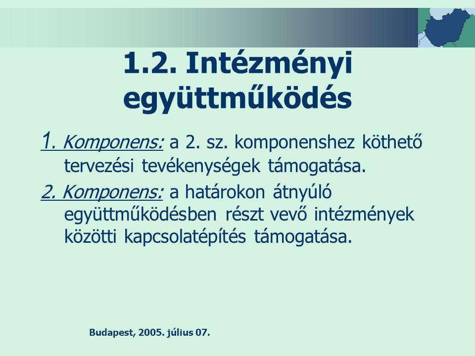 Budapest, 2005.július 07. 1.2. Intézményi együttműködés 1.