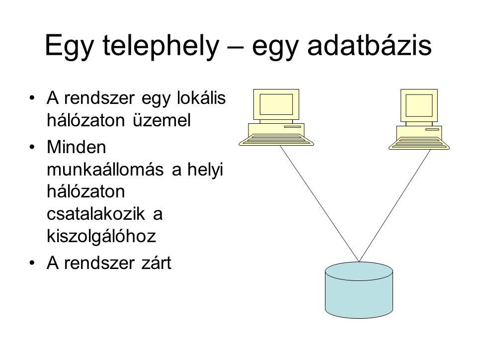 Egy telephely – egy adatbázis •A rendszer egy lokális hálózaton üzemel •Minden munkaállomás a helyi hálózaton csatalakozik a kiszolgálóhoz •A rendszer