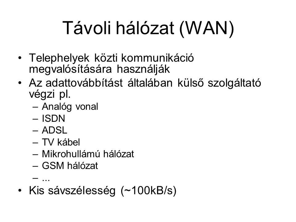 Távoli hálózat (WAN) •Telephelyek közti kommunikáció megvalósítására használják •Az adattovábbítást általában külső szolgáltató végzi pl. –Analóg vona