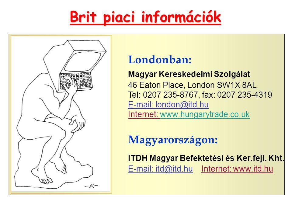 Brit piaci információk Londonban: Magyar Kereskedelmi Szolgálat 46 Eaton Place, London SW1X 8AL Tel: 0207 235-8767, fax: 0207 235-4319 E-mail: london@itd.hu Internet: www.hungarytrade.co.ukwww.hungarytrade.co.uk Magyarországon: ITDH Magyar Befektetési és Ker.fejl.