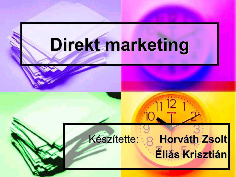 Definíció  a marketingnek egy interaktív módszere, amely egy vagy több reklámmédiát használva a potenciális vevőkből kedvező hatást, azonnali válaszreakciót kíván kiváltani  Cél: megrendelésre, érdeklődésre, üzlet, bemutatóterem felkeresésére késztessen