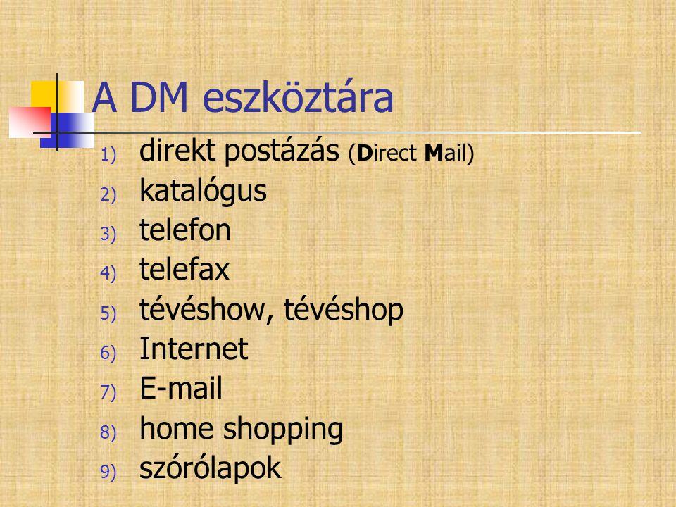 A DM eszköztára 1) direkt postázás (Direct Mail) 2) katalógus 3) telefon 4) telefax 5) tévéshow, tévéshop 6) Internet 7) E-mail 8) home shopping 9) sz