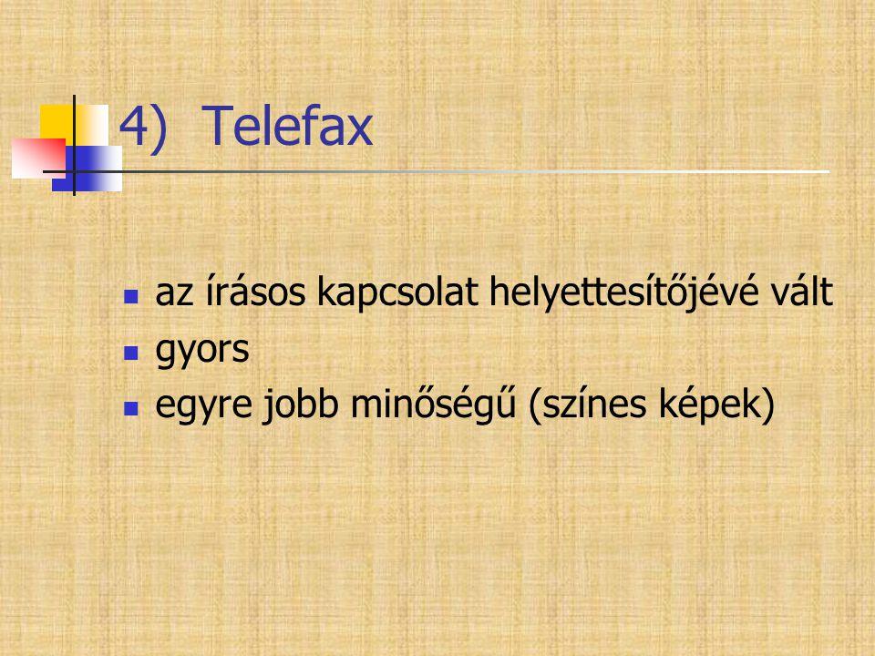 4) Telefax  az írásos kapcsolat helyettesítőjévé vált  gyors  egyre jobb minőségű (színes képek)