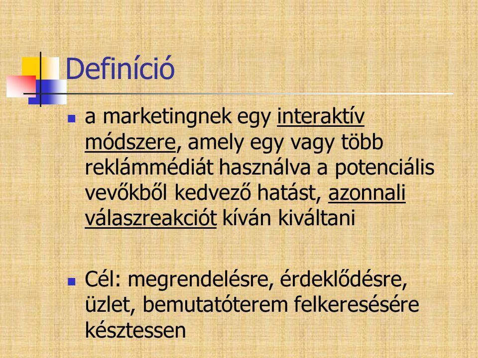 Definíció  a marketingnek egy interaktív módszere, amely egy vagy több reklámmédiát használva a potenciális vevőkből kedvező hatást, azonnali válaszr