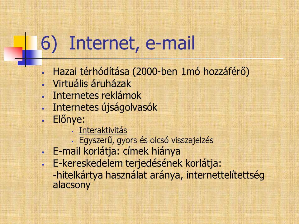 6) Internet, e-mail  Hazai térhódítása (2000-ben 1mó hozzáférő)  Virtuális áruházak  Internetes reklámok  Internetes újságolvasók  Előnye:  Inte