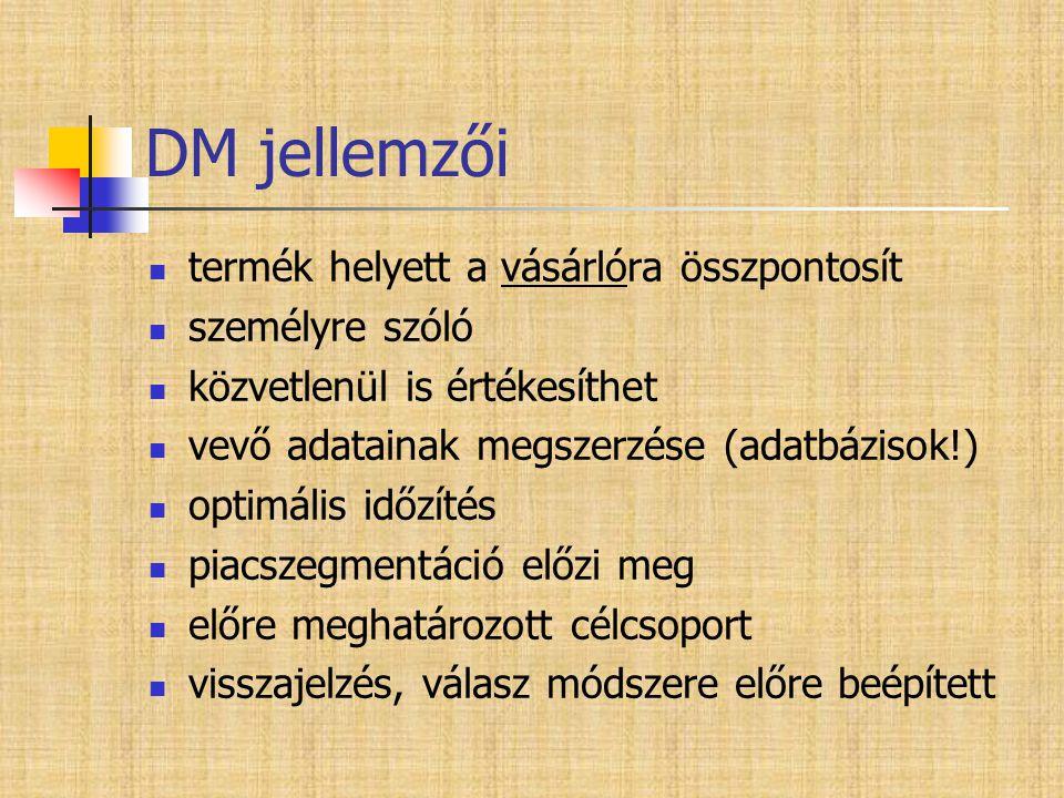 DM jellemzői  termék helyett a vásárlóra összpontosít  személyre szóló  közvetlenül is értékesíthet  vevő adatainak megszerzése (adatbázisok!)  o