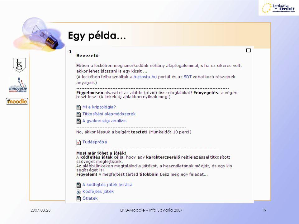 2007.03.23.LKG-Moodle - Info Savaria 200719 Egy példa…
