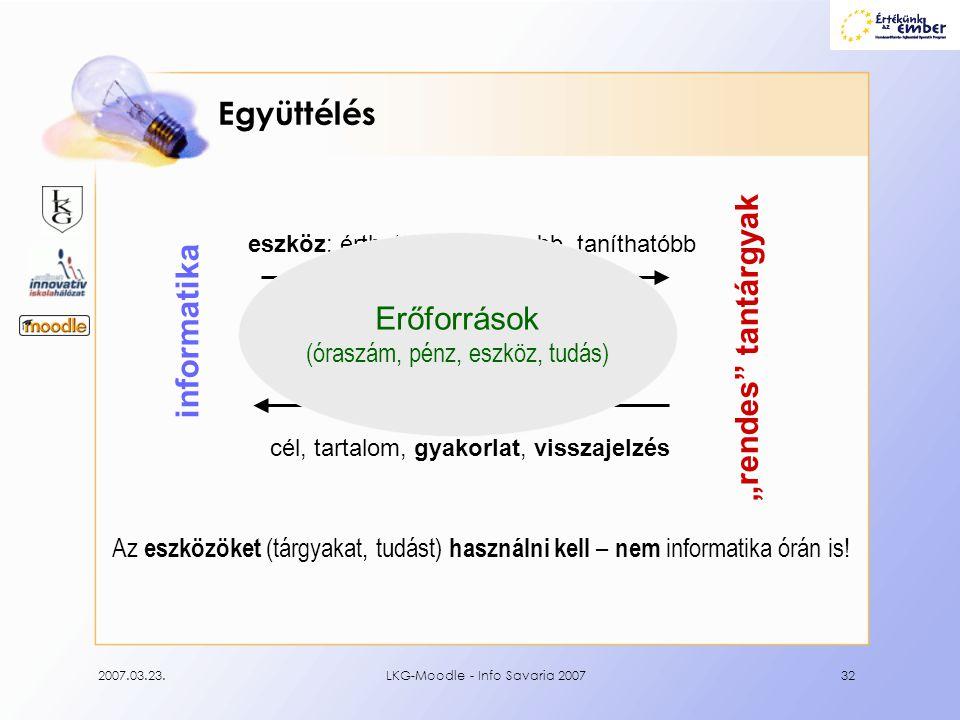 """2007.03.23.LKG-Moodle - Info Savaria 200732 Együttélés Az eszközöket (tárgyakat, tudást) használni kell – nem informatika órán is! informatika """"rendes"""