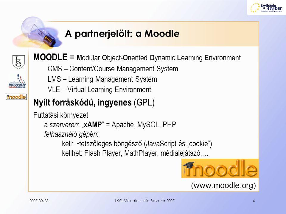 2007.03.23.LKG-Moodle - Info Savaria 200715 Személyek Tanári szerepek: Tananyagfejlesztő csapatmunka, együttműködés.