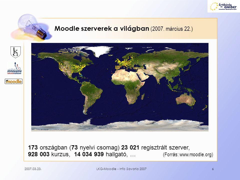 2007.03.23.LKG-Moodle - Info Savaria 20076 Moodle szerverek a világban (2007. március 22.) 173 országban (73 nyelvi csomag) 23 021 regisztrált szerver