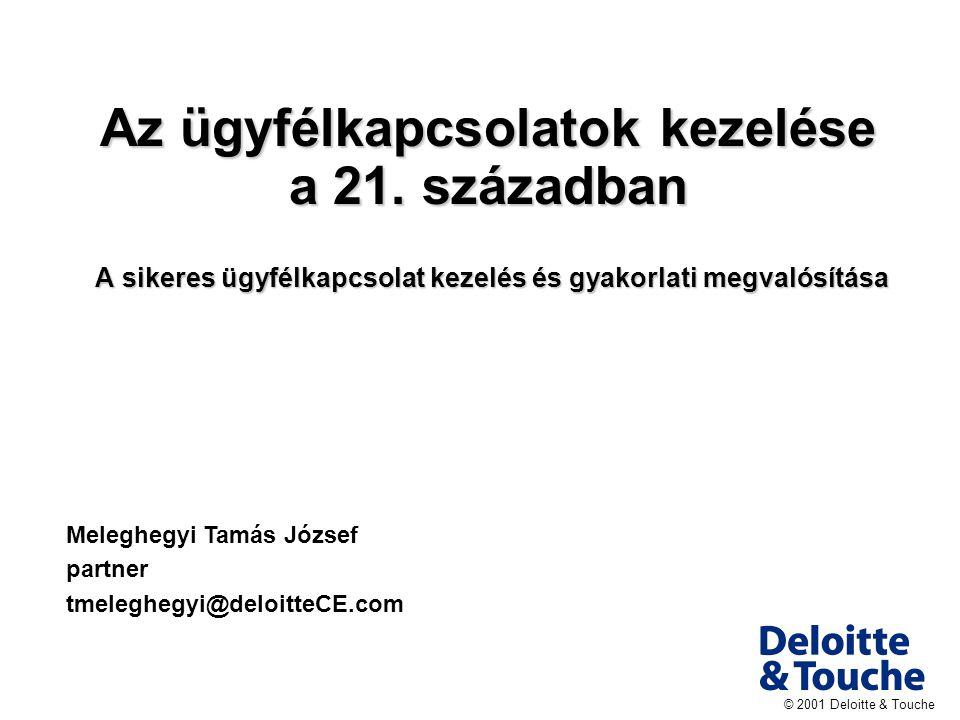© 2001 Deloitte & Touche Az ügyfélkapcsolatok kezelése a 21.