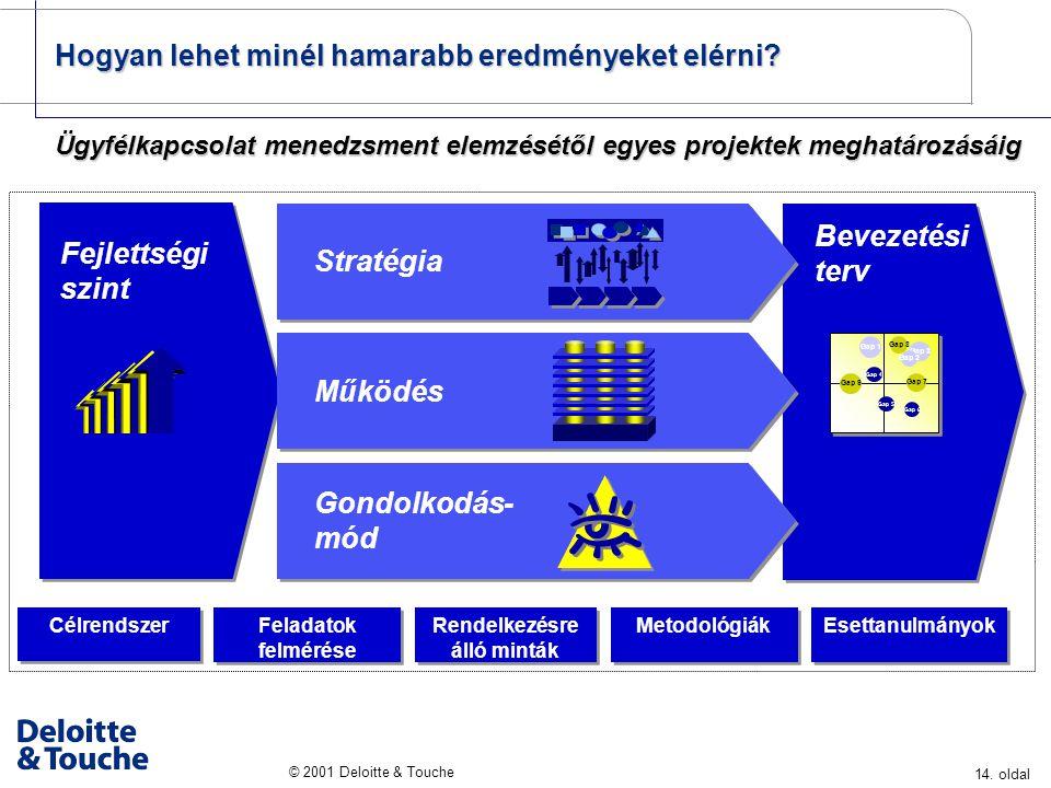 14. oldal © 2001 Deloitte & Touche Bevezetési terv Rendelkezésre álló minták Esettanulmányok Metodológiák Célrendszer Feladatok felmérése Feladatok fe