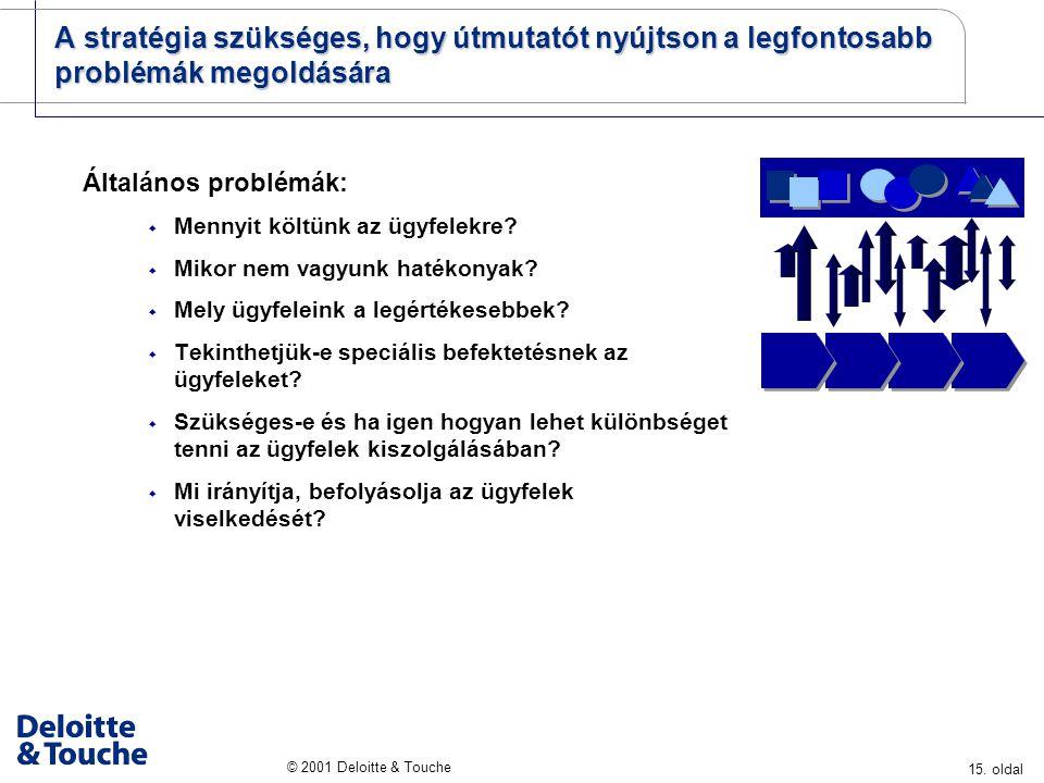 15. oldal © 2001 Deloitte & Touche A stratégia szükséges, hogy útmutatót nyújtson a legfontosabb problémák megoldására Általános problémák:  Mennyit
