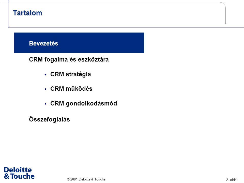 2. oldal © 2001 Deloitte & Touche Tartalom Bevezetés CRM fogalma és eszköztára  CRM stratégia  CRM működés  CRM gondolkodásmód Összefoglalás