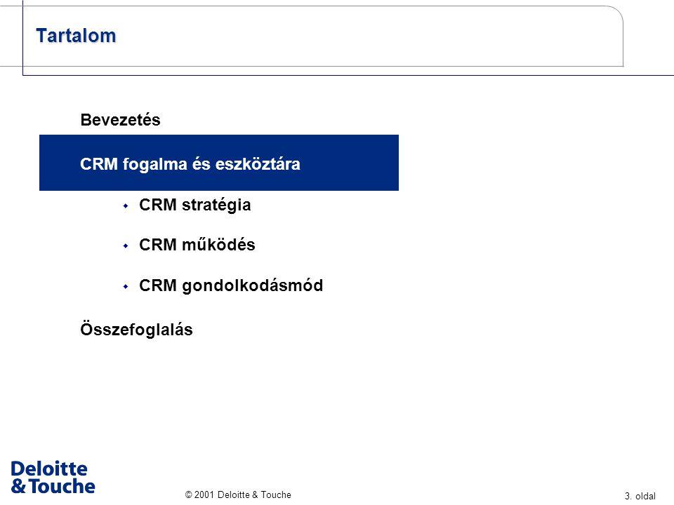 3. oldal © 2001 Deloitte & Touche Tartalom Bevezetés CRM fogalma és eszköztára  CRM stratégia  CRM működés  CRM gondolkodásmód Összefoglalás