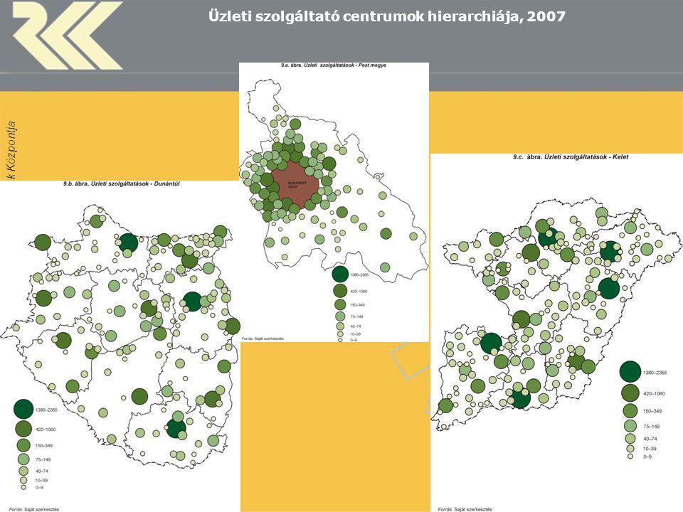 MTA Regionális Kutatások Központja 8 Üzleti szolgáltató centrumok hierarchiája, 2007