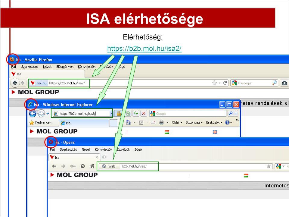 2 Elérhetőség: https://b2b.mol.hu/isa2/ ISA elérhetősége