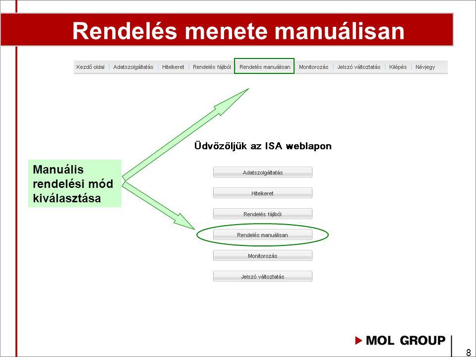 8 Rendelés menete manuálisan Manuális rendelési mód kiválasztása