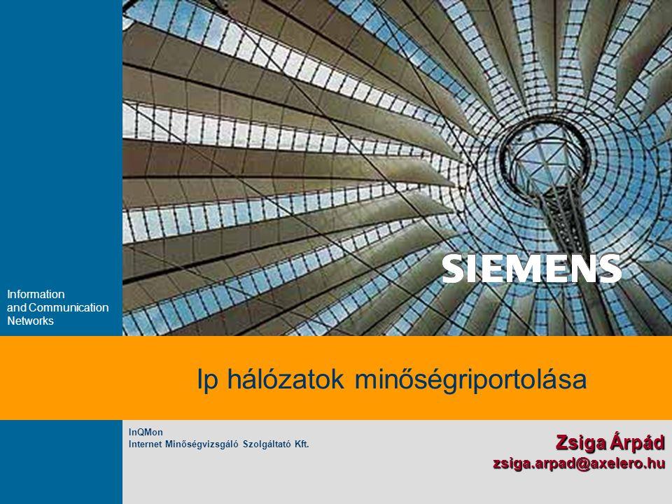 Information and Communication Networks Ip hálózatok minőségriportolása Zsiga Árpád zsiga.arpad@axelero.hu InQMon Internet Minőségvizsgáló Szolgáltató Kft.