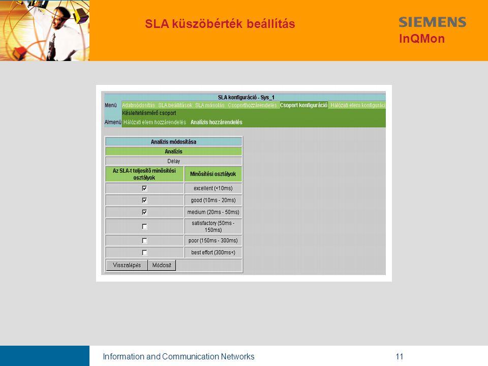 Information and Communication Networks11 SLA küszöbérték beállítás InQMon