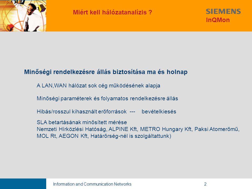 Information and Communication Networks2 Minőségi rendelkezésre állás biztosítása ma és holnap A LAN,WAN hálózat sok cég működésének alapja Minőségi paraméterek és folyamatos rendelkezésre állás Hibás/rosszul kihasznált erőforrások --- bevételkiesés SLA betartásának minősített mérése Nemzeti Hírközlési Hatóság, ALPINE Kft, METRO Hungary Kft, Paksi Atomerőmű, MOL Rt, AEGON Kft, Határőrség-nél is szolgáltattunk) Miért kell hálózatanalízis .