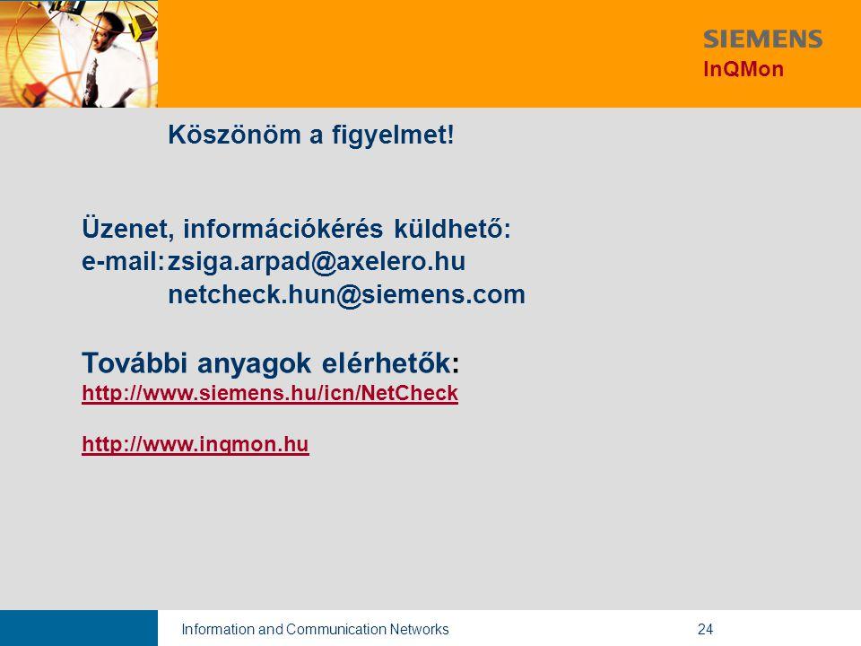 Information and Communication Networks24 Köszönöm a figyelmet.