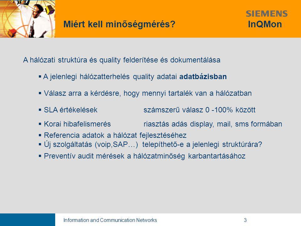 Information and Communication Networks3 A hálózati struktúra és quality felderítése és dokumentálása  A jelenlegi hálózatterhelés quality adatai adatbázisban  Válasz arra a kérdésre, hogy mennyi tartalék van a hálózatban  SLA értékelések számszerű válasz 0 -100% között  Korai hibafelismerés riasztás adás display, mail, sms formában  Referencia adatok a hálózat fejlesztéséhez  Új szolgáltatás (voip,SAP…) telepíthető-e a jelenlegi struktúrára.