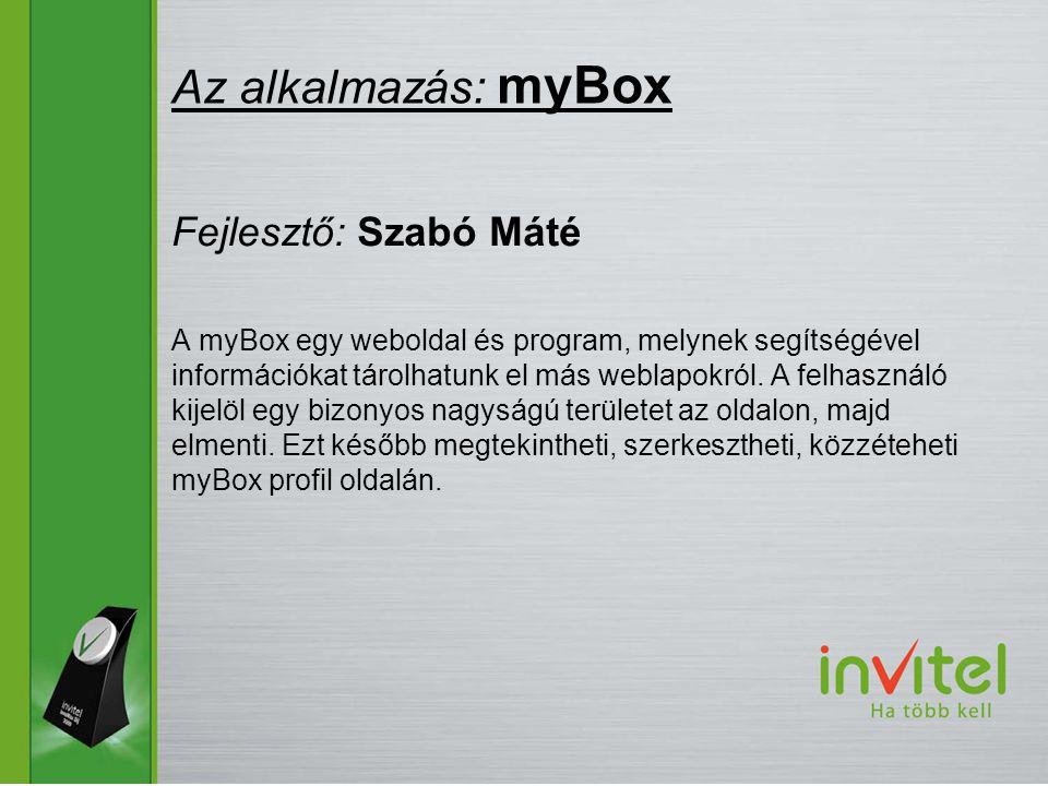 A myBox egy weboldal és program, melynek segítségével információkat tárolhatunk el más weblapokról.