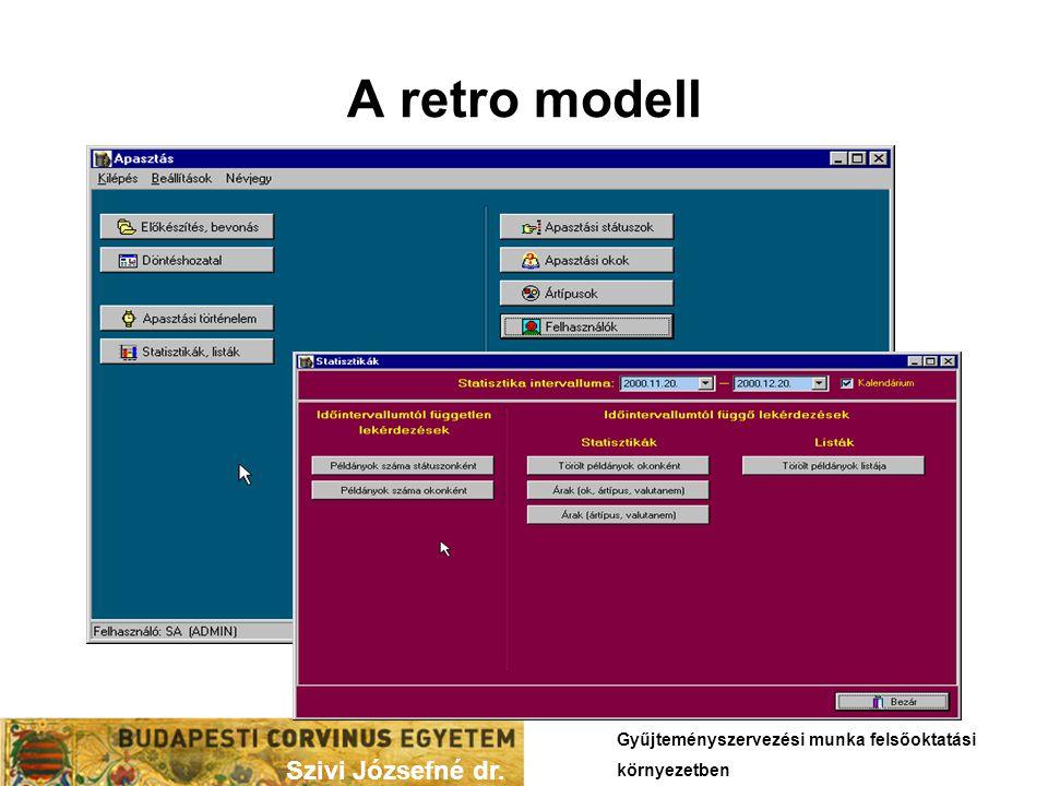 A retro modell Szivi Józsefné dr. Gyűjteményszervezési munka felsőoktatási környezetben