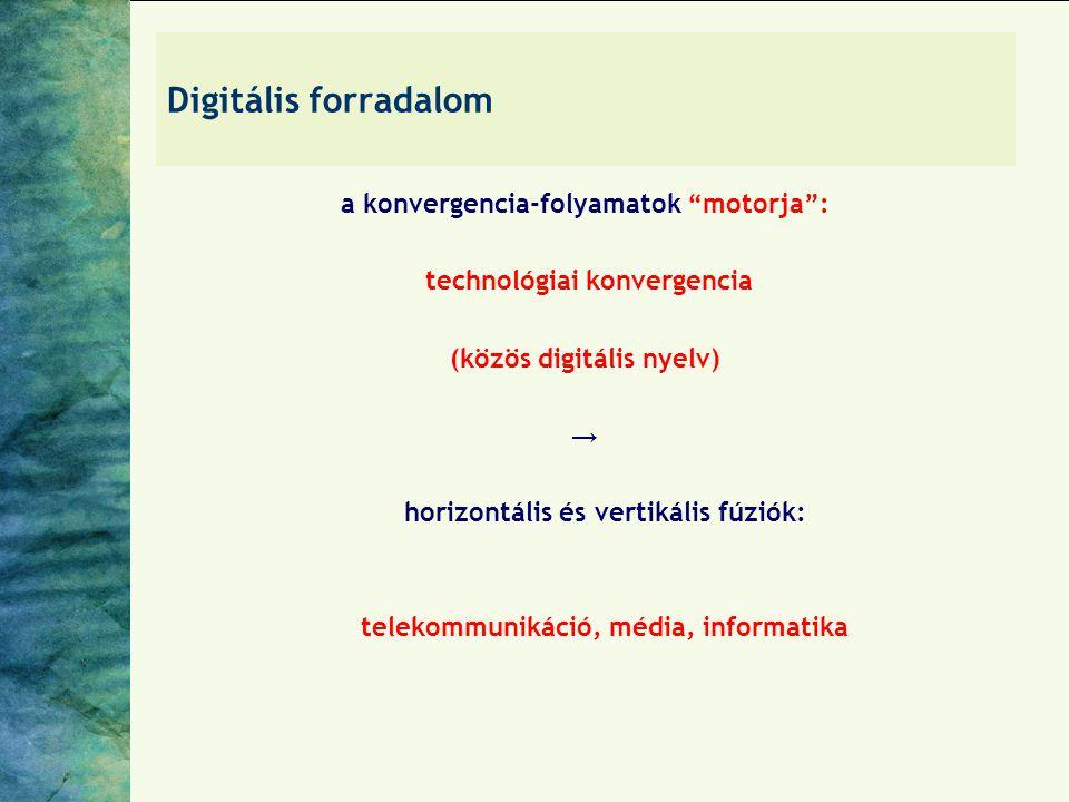 Digitális forradalom a konvergencia-folyamatok motorja : technológiai konvergencia (közös digitális nyelv) → horizontális és vertikális fúziók: telekommunikáció, média, informatika