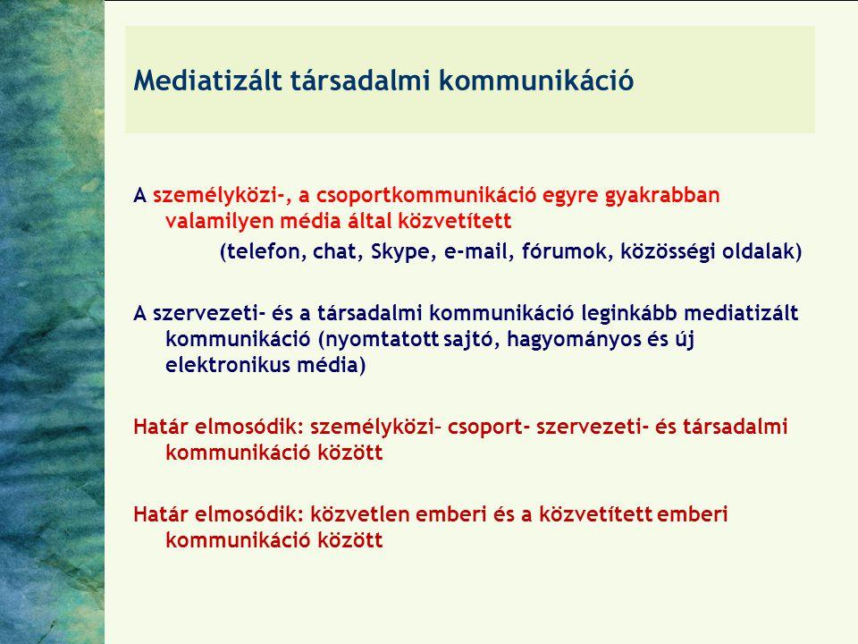 Mediatizált társadalmi kommunikáció A személyközi-, a csoportkommunikáció egyre gyakrabban valamilyen média által közvetített (telefon, chat, Skype, e-mail, fórumok, közösségi oldalak) A szervezeti- és a társadalmi kommunikáció leginkább mediatizált kommunikáció (nyomtatott sajtó, hagyományos és új elektronikus média) Határ elmosódik: személyközi– csoport- szervezeti- és társadalmi kommunikáció között Határ elmosódik: közvetlen emberi és a közvetített emberi kommunikáció között