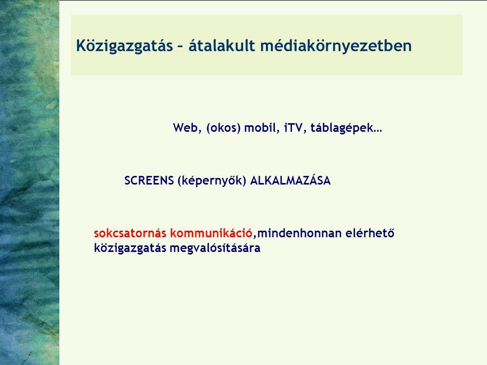 Közigazgatás – átalakult médiakörnyezetben Web, (okos) mobil, iTV, táblagépek… SCREENS (képernyők) ALKALMAZÁSA sokcsatornás kommunikáció,mindenhonnan