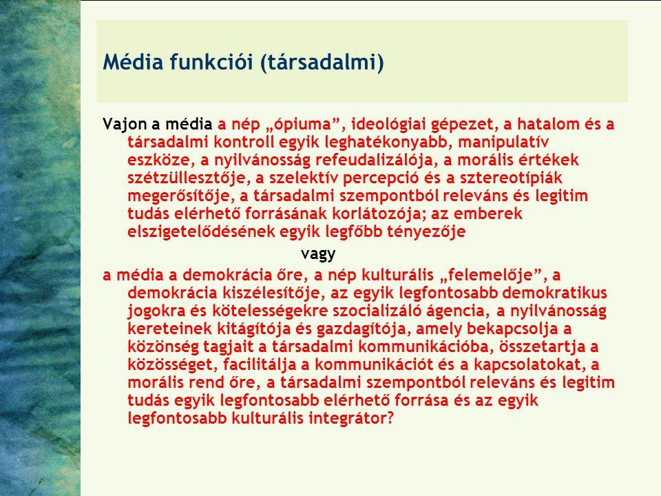 """Média funkciói (társadalmi) Vajon a média a nép """"ópiuma"""", ideológiai gépezet, a hatalom és a társadalmi kontroll egyik leghatékonyabb, manipulatív esz"""