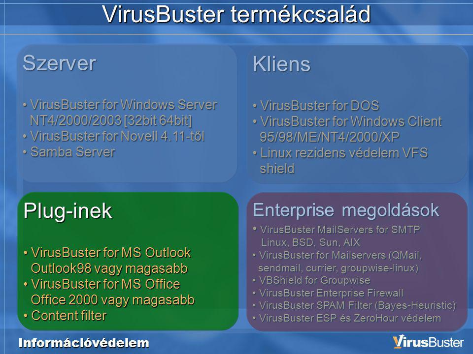 Szerver • VirusBuster for Windows Server NT4/2000/2003 [32bit 64bit] • VirusBuster for Novell 4.11-től • Samba Server Információvédelem VirusBuster te