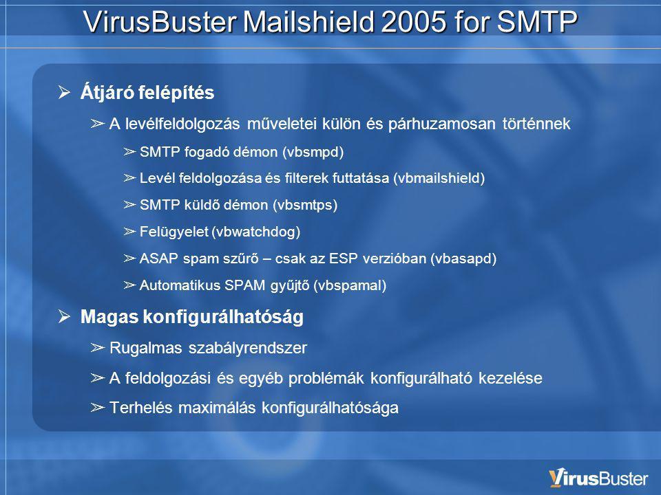 VirusBuster Mailshield 2005 for SMTP  Átjáró felépítés ➢ A levélfeldolgozás műveletei külön és párhuzamosan történnek ➢ SMTP fogadó démon (vbsmpd) ➢ Levél feldolgozása és filterek futtatása (vbmailshield) ➢ SMTP küldő démon (vbsmtps) ➢ Felügyelet (vbwatchdog) ➢ ASAP spam szűrő – csak az ESP verzióban (vbasapd) ➢ Automatikus SPAM gyűjtő (vbspamal)  Magas konfigurálhatóság ➢ Rugalmas szabályrendszer ➢ A feldolgozási és egyéb problémák konfigurálható kezelése ➢ Terhelés maximálás konfigurálhatósága