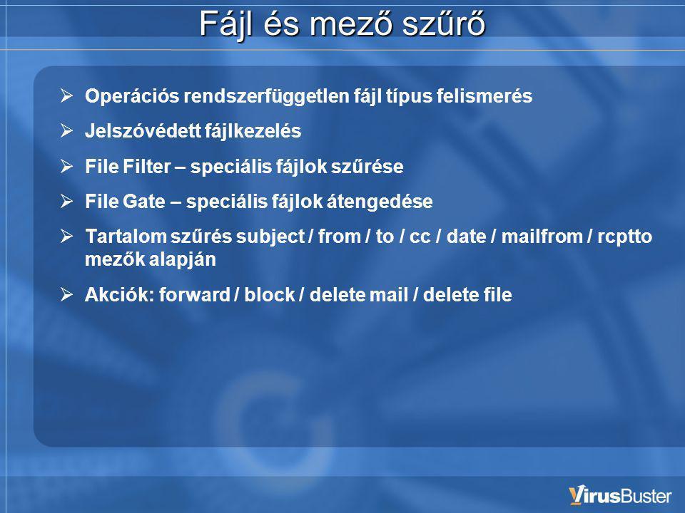 Fájl és mező szűrő  Operációs rendszerfüggetlen fájl típus felismerés  Jelszóvédett fájlkezelés  File Filter – speciális fájlok szűrése  File Gate – speciális fájlok átengedése  Tartalom szűrés subject / from / to / cc / date / mailfrom / rcptto mezők alapján  Akciók: forward / block / delete mail / delete file