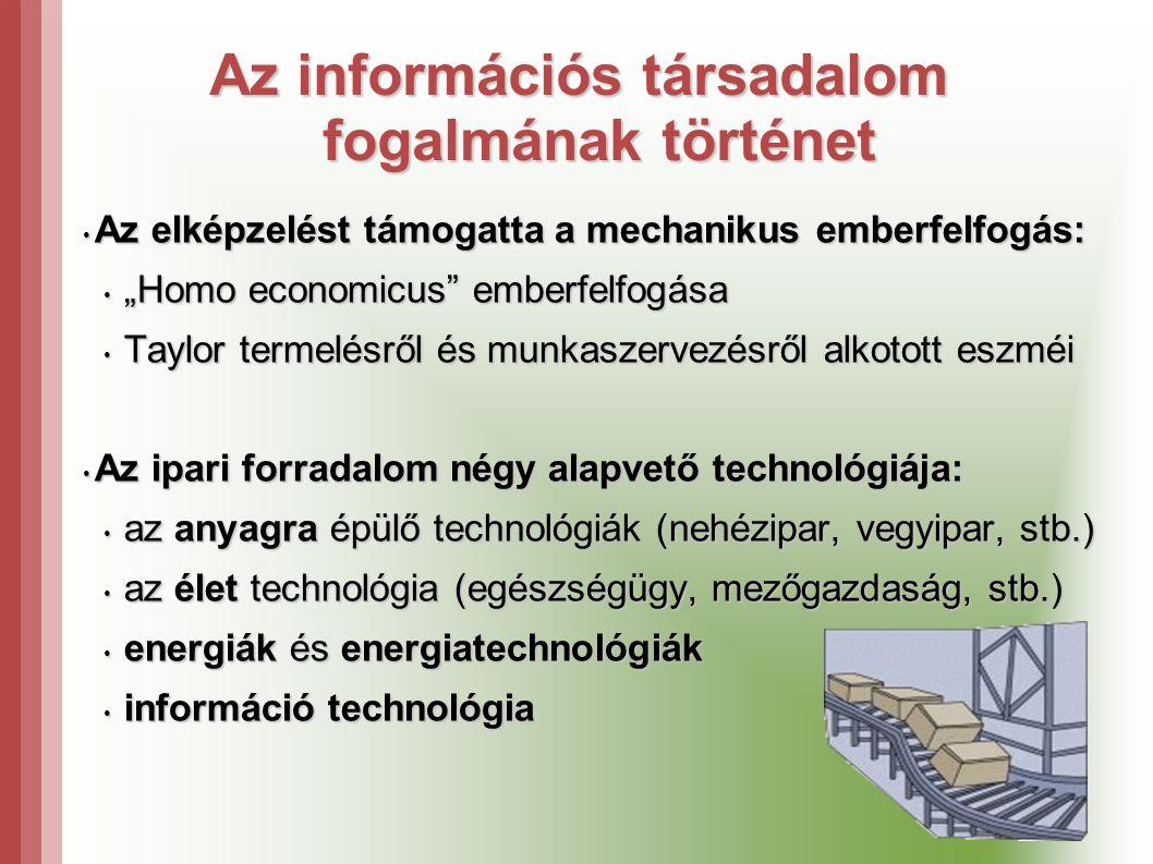 """Az információs társadalom fogalmának történet • Az elképzelést támogatta a mechanikus emberfelfogás: • """"Homo economicus emberfelfogása • Taylor termelésről és munkaszervezésről alkotott eszméi • Az ipari forradalom négy alapvető technológiája: • az anyagra épülő technológiák (nehézipar, vegyipar, stb.) • az élet technológia (egészségügy, mezőgazdaság, stb.) • energiák és energiatechnológiák • információ technológia"""
