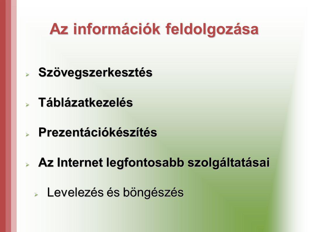  Szövegszerkesztés  Táblázatkezelés  Prezentációkészítés  Az Internet legfontosabb szolgáltatásai  Levelezés és böngészés Az információk feldolgozása
