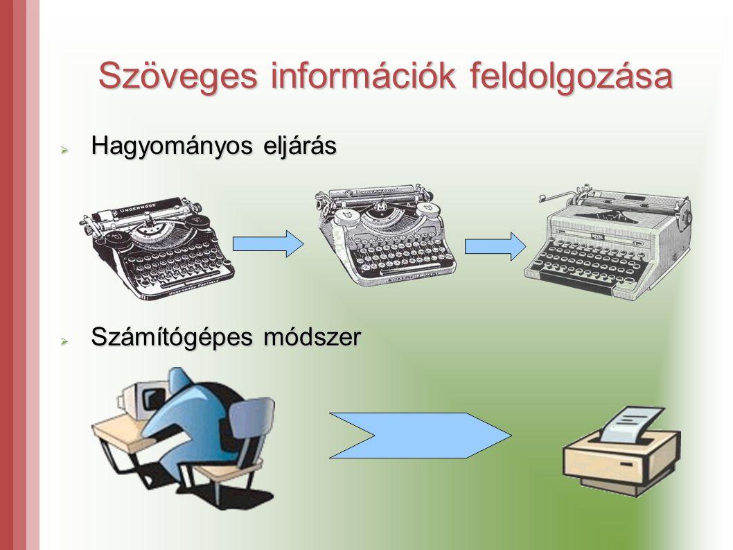 Szöveges információk feldolgozása  Hagyományos eljárás  Számítógépes módszer