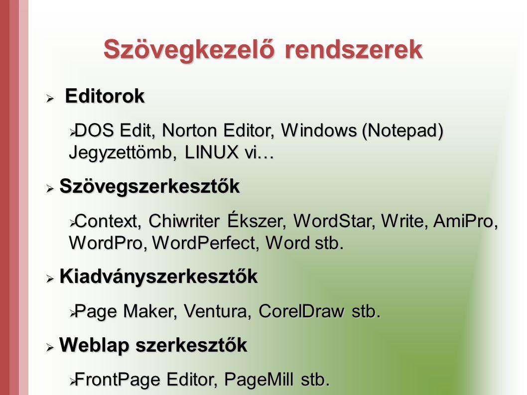 Szövegkezelő rendszerek  Editorok  DOS Edit, Norton Editor, Windows (Notepad) Jegyzettömb, LINUX vi…  Szövegszerkesztők  Context, Chiwriter Ékszer, WordStar, Write, AmiPro, WordPro, WordPerfect, Word stb.