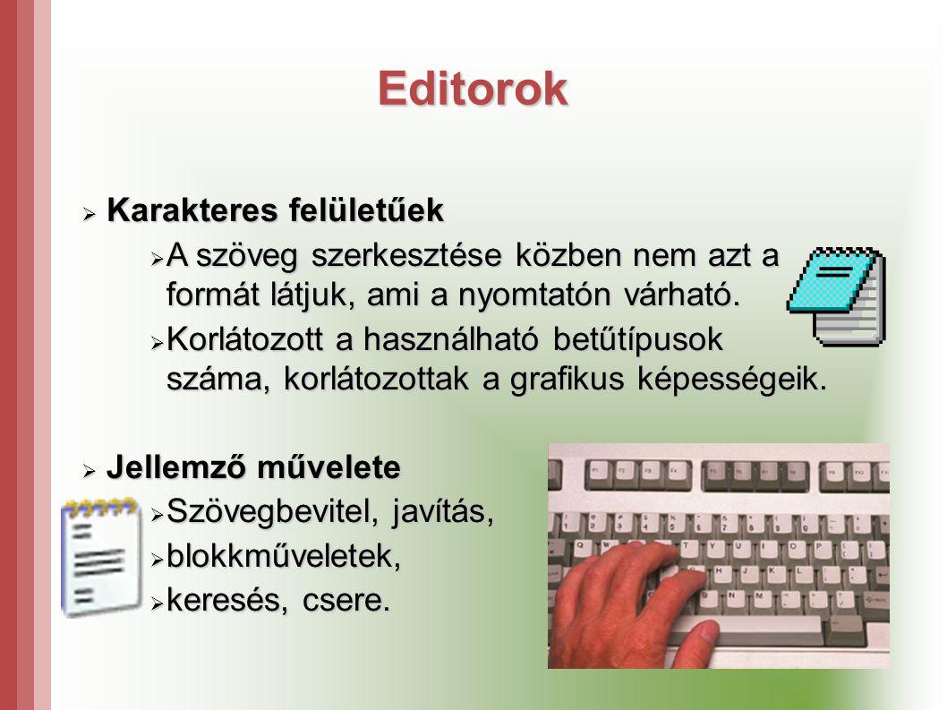 Editorok  Karakteres felületűek  A szöveg szerkesztése közben nem azt a formát látjuk, ami a nyomtatón várható.