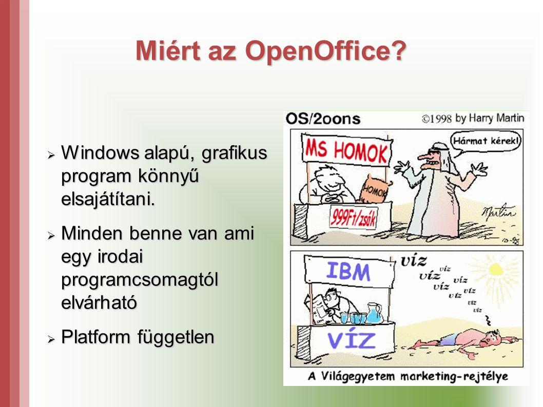 Miért az OpenOffice. Windows alapú, grafikus program könnyű elsajátítani.