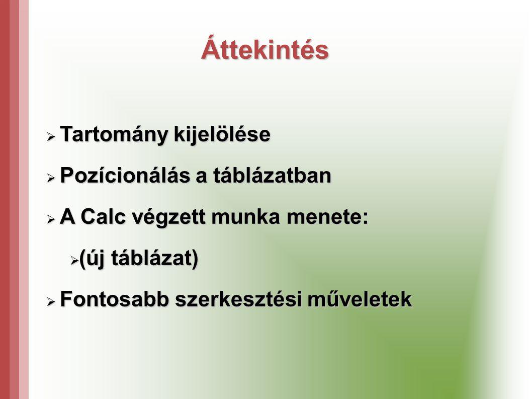 Áttekintés  Tartomány kijelölése  Pozícionálás a táblázatban  A Calc végzett munka menete:  (új táblázat)  Fontosabb szerkesztési műveletek