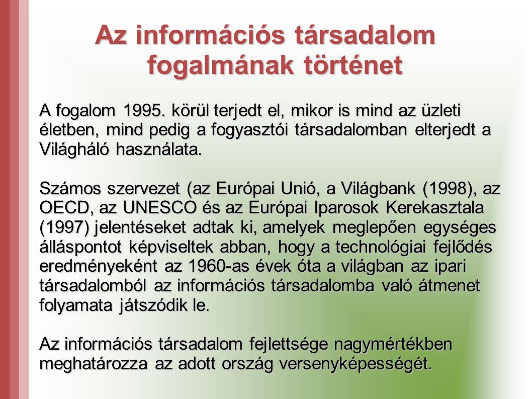 Az információs társadalom fogalmának történet A fogalom 1995.
